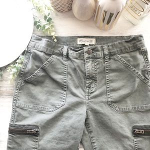 Madewell olive cargo pants ankle side zip sz 27